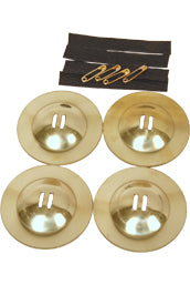 Four Solid Brass, Rim Edged Finger Cymbals - 2 3/8 Inches Diameter