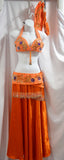 Full Belly Dance Costume - Orange Bedlah & Skirt ~ Free Shipping!