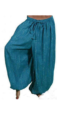 Teal Cotton Harem Pants with Silver Lurex Threads