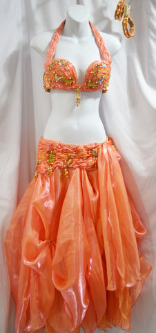 Stunning Iridescent Peach Chiffon Organza Full Designer Belly Dance Costume