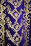 Purple Velvet Cover Up with Ornate Gold Embroidery Close Up