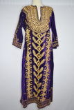 Purple Velvet Cover Up with Ornate Gold Embroidery