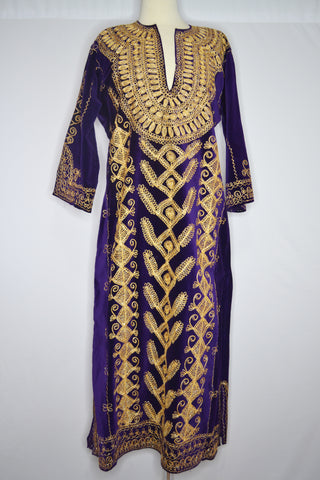 Purple Velvet with Gold Embroidery Cover Up
