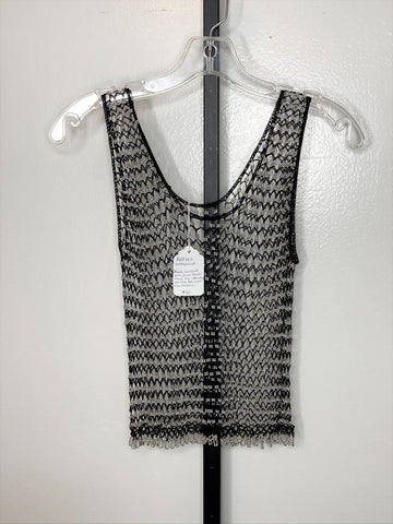 Top ~ black net with silver beads