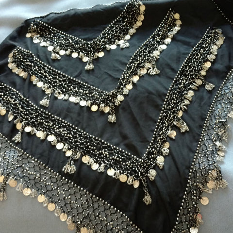 Hip Wrap ~ Beaded ~ Black Long Chiffon