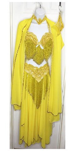 Belly Dance Costume ~ Yellow & Gold ~ Turkish Style