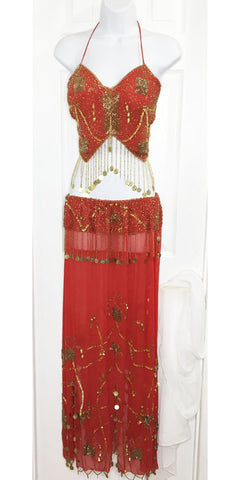 Belly Dance Costume ~ Red & Gold Beaded Chiffon