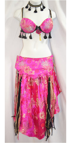 Silky Bright Pink Bedlah Set with Gold Oriental Print Fabric and Black Tassel Accents
