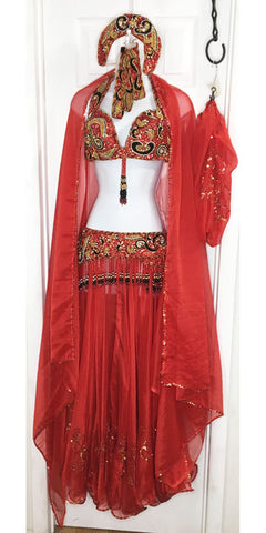 Belly Dance Costume Set ~ Red, Gold & Black