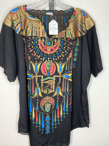 Top ~ black Egyptian painted design ~ XL
