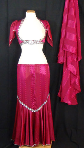 Top, Skirt & Veil Set ~ Dark Fuchsia - Silver Sequined Trimmed