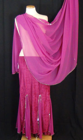 Skirt & Veil Set ~ Fuchsia Stretch Velvet Fabric & Chiffon