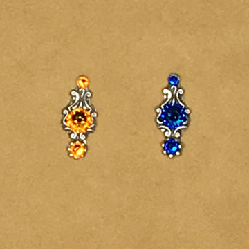 Bindis ~ Small Slender Design ~ 3 Swarovski crystals