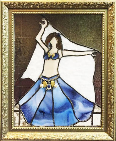 Beautifully Hand Crafted Stained Glass Belly Dancer with Veil & Zils
