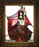 Hand Crafted Stained Glass Belly Dancer with Veil & Zils
