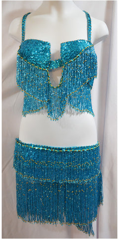 Teal with Gold Sequin Beaded Belly Dance Bedlah Bra and Belt Costume Set