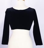 Three-Quarter Sleeve Midriff Top ~ Black - Back