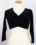 Three-Quarter Sleeve Midriff Top ~ Black