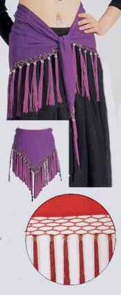 Beaded Tassel Fringe Hip Wrap - Purple