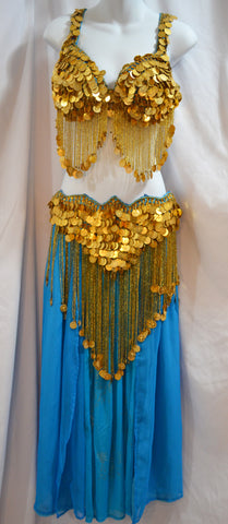 Turquoise Belly Dance Costume with Gold Beads and Coins