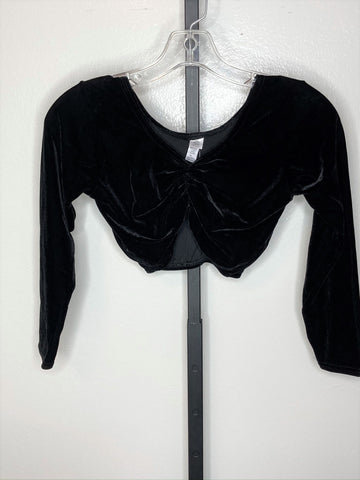 Top 3/4 sleeve ~ stretch velvet midriff large A
