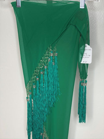 Tassel Fringe Hip Wrap ~ green with silver