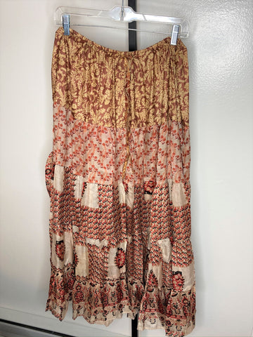 Skirt ~ 5 tier sari patchwork red/ tan