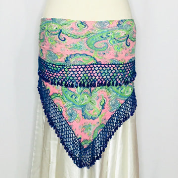 Elegant Hip Wrap/ Shawl ~ Beaded Crochet Trim  ~ Pink Green Paisley