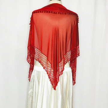 Elegant Hip Wrap/ Shawl ~ Beaded Crochet Trim  ~ Burgundy Rust Red