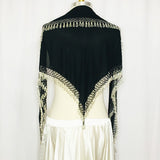 Elegant Hip Wrap/ Shawl ~ Beaded Crochet Trim  ~ Black Scale & Silver
