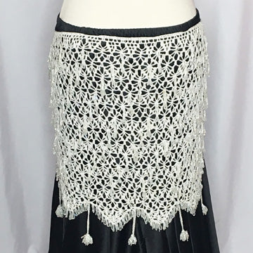 Crochet Beaded Hip Wrap ~ Beaded Loops & Tassels ~ White