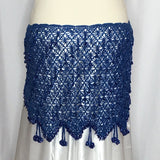 Crochet Beaded Hip Wrap ~ Beaded Loops & Tassels ~ Blue