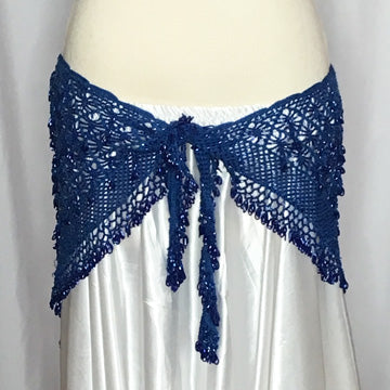 Blue Crochet Beaded Hip Wrap