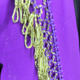 Elegant Hip Wrap/ Shawl ~ Beaded Crochet Trim  ~ Purple & Gold