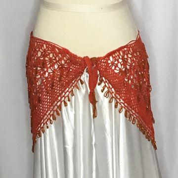 Rust Orange Crochet Beaded Hip Wrap - Front