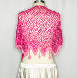 Crochet Beaded Hip Wrap ~ Bright Pink - Back View
