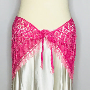 Crochet Beaded Hip Wrap ~ Beaded Loops & Tassels ~ Bright Pink