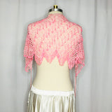 Light Pink Crochet Beaded Hip Wrap - Back View