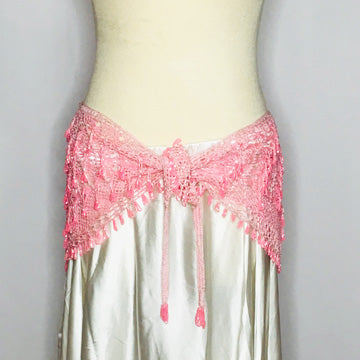 Crochet Beaded Hip Wrap ~ Light Pink