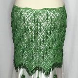 Green Crochet Beaded Hip Wraps - Back View
