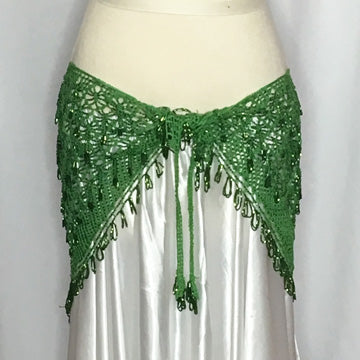 Crochet Beaded Hip Wraps ~ Beaded Loops & Tassels ~ Green