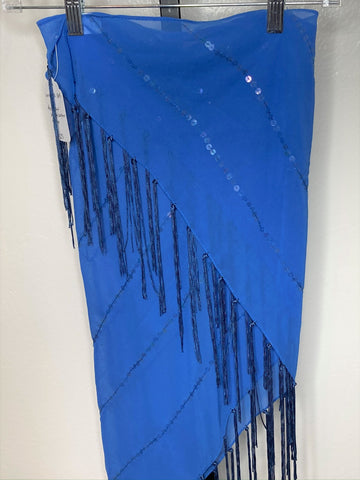 Fringe Hip Wrap Shawl - Blue sequin