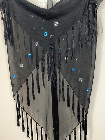 Fringe Hip Wrap ~ black with teal rhinestones
