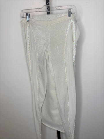 Set ~ Half leg pants with veil ~ off-white silver