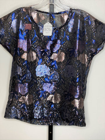 Top ~ sheer black/ blue/ silver metallic