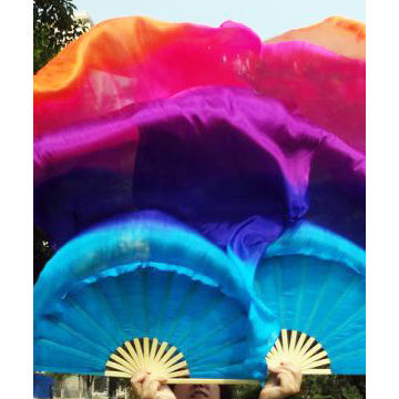 Silk Fan Veils ~ Five color ~ Rainbow