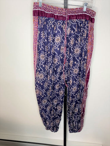 Pantaloons ~ tribal pattern ~ blue/ burgundy