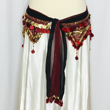 Habibi Coin Hip Wrap ~ Black Burgundy Gold
