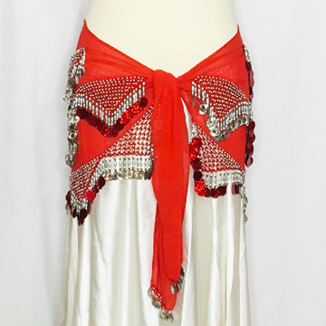 Fancy Coin Hip Wrap ~ Red & Silver