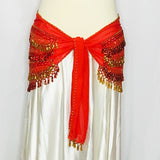 Fancy Beaded Hip Wrap ~ Red & Gold